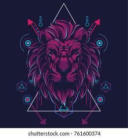 The Lion in sacred geometric style