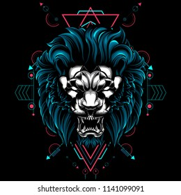 The Lion sacred geometry illustration