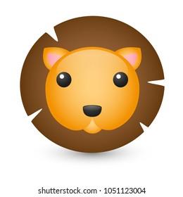 Lion Safari Savannah Animals Emoji Illustration, Face Vector Design Art
