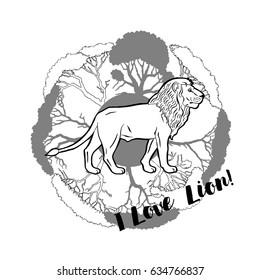 Lion and savanna trees print. Hand drawn sketches. Vector Illustration