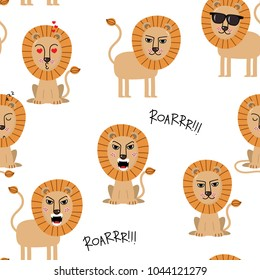 Lion seamless pattern. Animal background. Wildlife cartoon character