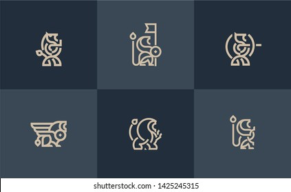 Lion set logo shield vector Heraldic premium logo icon signs. Universal company symbol.