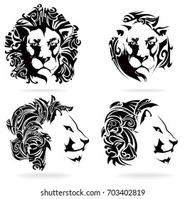 Lion set, on white background, illustration, tribal
