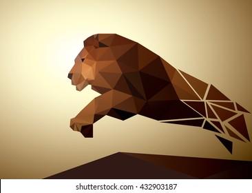 Lion shape, logo polygonal geometric, pattern design. Vector illustration.