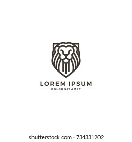 lion shield line art outline logo template vector icon