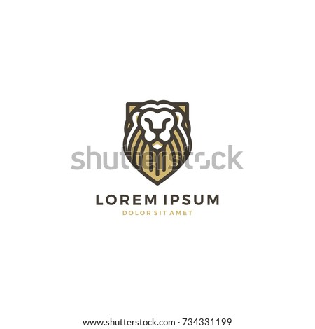 Lion Shield Line Art Outline Gold Fill Logo Template Vector Icon