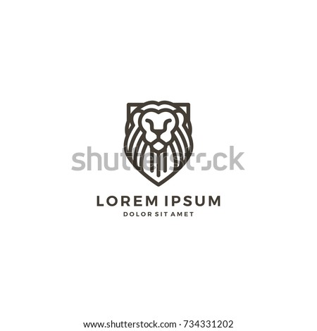 Lion Shield Line Art Outline Logo Stock Vector (Royalty Free ...