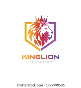 Lion Shield Logo - Abstract Polygonal Lion King Character - Colorful Lion Mascot Vector Illustration