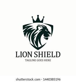 Lion shield logo design template. Vector illustration