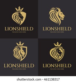 Lion Shield logo design template ,Vector illustration