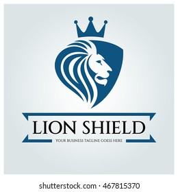 Lion Shield logo design template ,Business sign ,Vector illustration