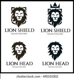 Lion Shield logo design template. Lion Head logo. Elements for brand identity