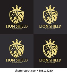 Lion Shield logo design template ,Lion head logo ,Element for the brand identity ,Vector illustration