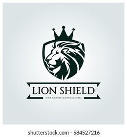 Lion shield logo design template. Element for the brand identity. Vector illustration