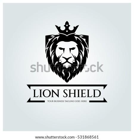 lion shield logo design template lion のベクター画像素材