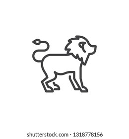 Lion side view line icon. linear style sign for mobile concept and web design. lion standing outline vector icon. Wild animal symbol, logo illustration. Pixel perfect vector graphics
