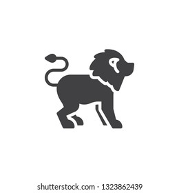 Lion side view vector icon. filled flat sign for mobile concept and web design. lion standing glyph icon. Wild animal symbol, logo illustration. Pixel perfect vector graphics