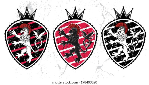 lion silhouette with crown emblem illustration