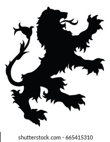 Lion silhouette. Editable vector illustration.