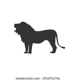 Lion silhouette vector on a white background
