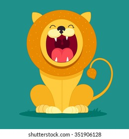 lion sits and snarls, cartoon, character, kids, funny