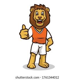 Lion smile cute mascot design illustration vector template
