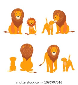 Lion and son family vector illustration. Happy Fathers Day. Cartoon safari postcard