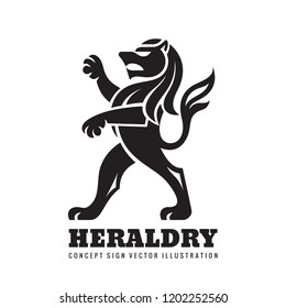 Lion standing on its hind legs - concept business logo template vector illustration. Heraldic figure. Animal wildlife black silhouette. Pride, strong, power symbol. Graphic design element.