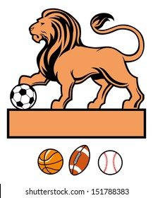 lion standing with various of sport ball