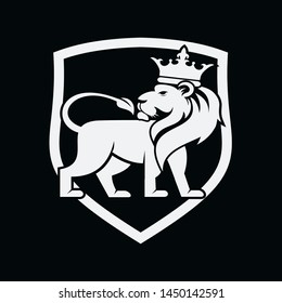 Lion Stands In Front Of The Shield Logo