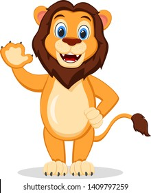 The lion stands on its hind legs, smiling and waving on a white background. Character