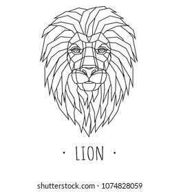 Lion stylized triangle polygonal model. Vector illustration