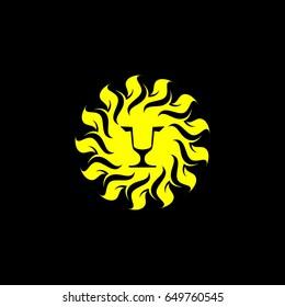 lion sun flower icon vector logo element