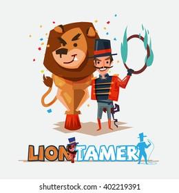 Lion tamer with big lion. character design - vector illustration