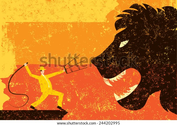 Lion Tamer A lion tamer cracking his whip at a large lion head over an abstract background. The lion tamer & lion are on a separate labeled layer from the background.