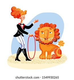 Lion tamer flat color vector illustration. Happy woman in carnival outfit holding whip cartoon character. Handler performing dangerous stunt. Lion jump through fire ring. Circus performance