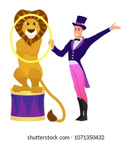 Lion Tamer with lion. Funny cartoon and vector circus illustration.  Character representing Leo for a modern horoscope.