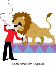 Lion tamer  putting his head in a lion's mouth