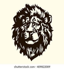 Lion tattoo.The lion's head.Tattoo style.