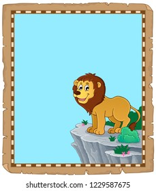 Lion theme parchment 1 - eps10 vector illustration.
