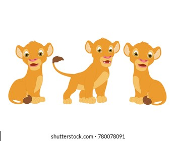 Lion Three Cubs Character Vector