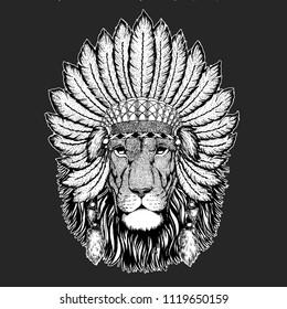 9c41aaa4af9b4 Lion Traditional ethnic indian boho headdress Tribal shaman hat Ceremonial  element