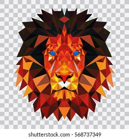 Lion of the triangles. triangulation. Realistic lion on a white background