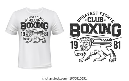 Lion t-shirt print mockup, boxing fight club team vector emblem. Angry lion or wild animal in rage mascot for boxing or kickboxing fighting club tournament or t shirt print
