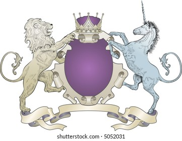 Lion and Unicorn Coat of Arms (no leaves) A shield coat of arms element featuring a lion, unicorn and crown