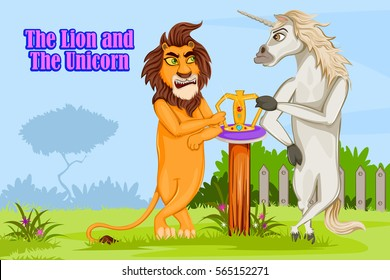 The Lion and the Unicorn, Kids English Nursery Rhymes book illustration in vector