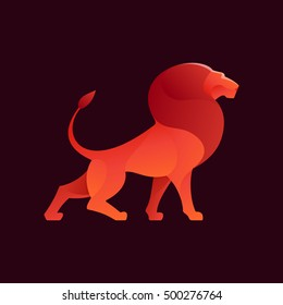 Lion vector character. Animal design elements for sport team branding, T-shirt, label, badge, card or illustration.