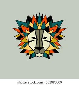 Lion. Vector icon, logo. Stylized geometric animal head. Symbol of strength, pride. Flat illustration Triangular mane.