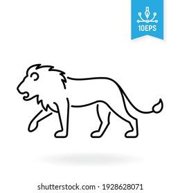 Lion vector icon. Wild animal outline symbol. African savannah fauna.
