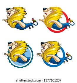 Lion  - vector illustration, emblem design on white background. - Vector